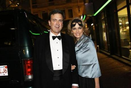 10-27-2012 Boston, Mass Over 200 guests attended the last fundraiser party held at Locke-Ober Restaurant for Save Venice Masquerade Gala. L. to R. are Roberto and Elizabeth Goizueta of Brookline. Globe photo by Bill Brett