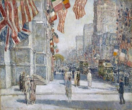 "Childe Hassam's ""Early Morning on the Avenue in May 1917,"" in the exhibit ""People, Places, Things."""