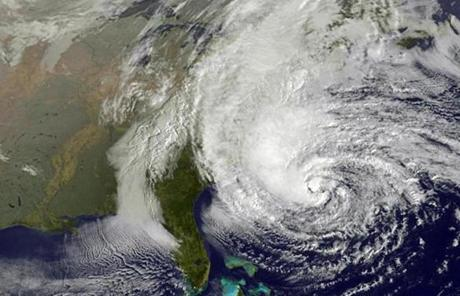 Hurricane Sandy was moving toward the northeast Sunday night with maximum sustained winds of 75 mph.