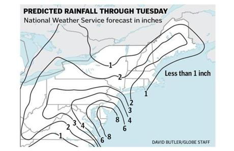 The Boston area is expected to get 1 to 2 inches of rain, and 1 to 3 inches could fall in Worcester and further west.