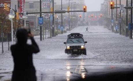 A member of the press took a photo of a flooded street in Atlantic City.