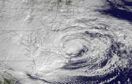 Hurricane Sandy is seen Monday as it approaches landfall on the East Coast.
