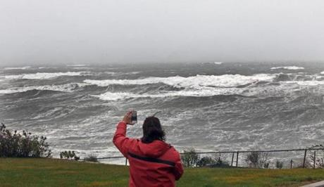 Sebby Santiano from Groton took a photo of waves in Scituate.