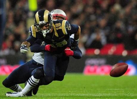 Patriots defender Marquice Cole forced a loose ball out of Rams receiver Austin Pettis.