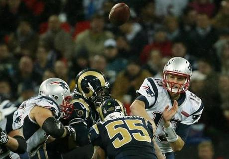 With the Patriots up 45-7 in the fourth quarter, Patriots backup quarterback Ryan Mallett entered the game.
