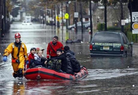 Emergency personnel rescued residents in Little Ferry, N.J.