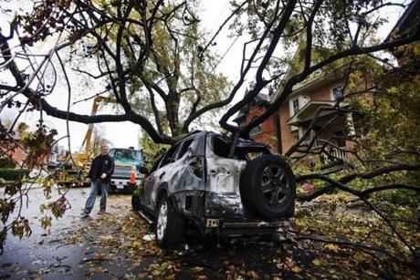 Homeowner Richard Ward assessed the damage to a car parked in front of his house after a tree fell over a power line in Toronto.