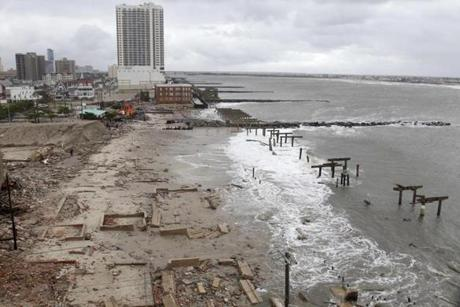 Foundations and pilings are all that remain of brick buildings and a boardwalk in Atlantic City, N.J.