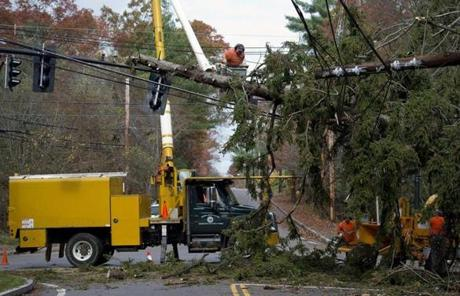 Needham public works crews removed a tree from power lines and traffic lights.