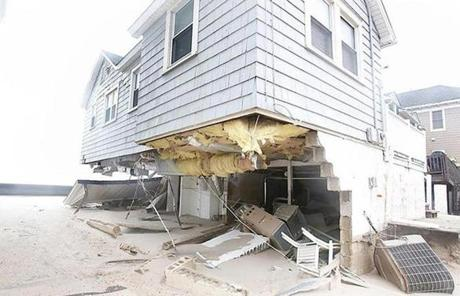 A damaged home was seen on Manasquan Beach in Manasquan, N.J.