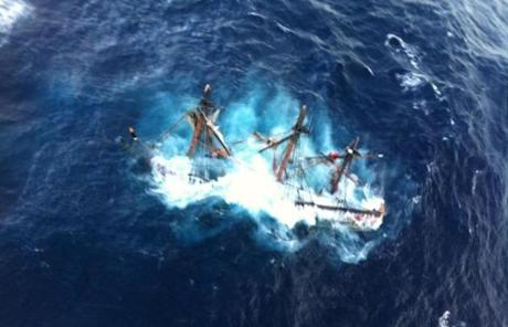 The HMS Bounty, a 180-foot sailboat, sunk in the Atlantic Ocean near Hatteras, N.C.