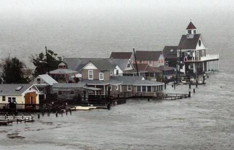 A row of houses flooded at Grassy Sound in North Wildwood, N.J.