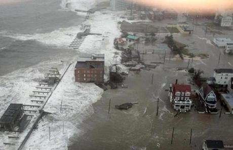 The Inlet section of Atlantic City, N.J. was covered in water. A  piece of the boardwalk washed away earlier in the day.