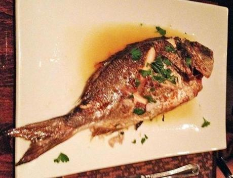 Whole sea bream, imported from Greece.
