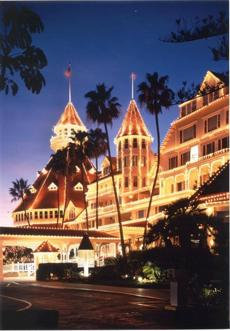 The Hotel Del Coronado has prime waterfront.