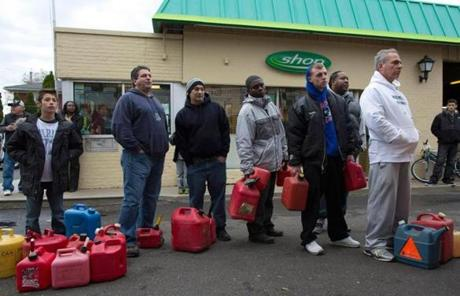 Residents of Staten Island stood in line for fuel.