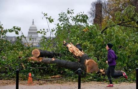 The storm upended trees in Washington, D.C. It also left more than 8.2 million homes in 17 states without power.