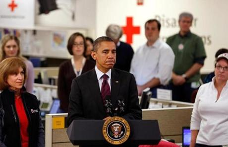 President Obama monitored relief efforts at the Red Cross in Washington.