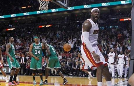 Heat star LeBron James (26 points) made some noise with this thunderous dunk.