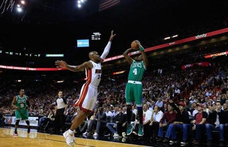 Jason Terry took to the air for a shot over Allen.