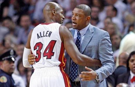 Ray Allen and ex-coach Doc Rivers shared a moment, but Allen was not universally embraced by the Celtics.
