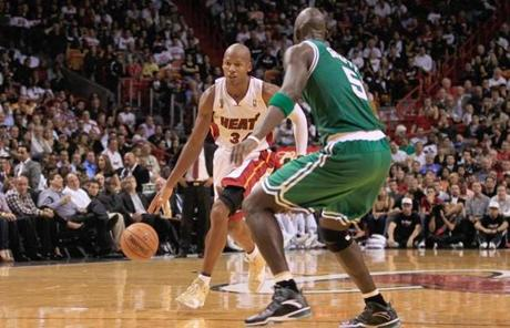 Kevin Garnett tried to cover Ray Allen, but off the court, Garnett kept his distance.