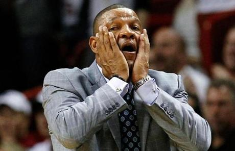 Celtics coach Doc Rivers reacts to a call against his team during the first half of Tuesday night's loss.