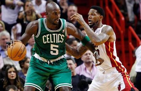 Garnett backed down the Heat's Udonis Haslem.