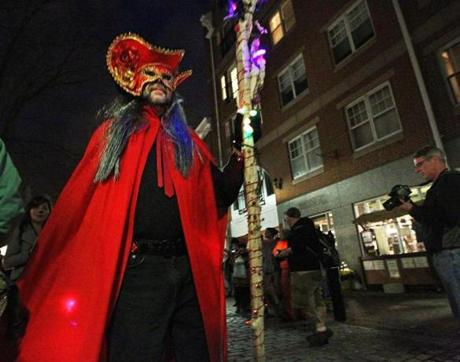 This costumed person was a part of scene on Halloween evening in downtown Salem.