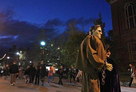 10/31/12 Salem, MA: The scene on Halloween evening in downtown Salem included Frankenstein and witches. section:nowk topic:BDC-salem-halloween-2012 (Jim Davis/Globe Staff)