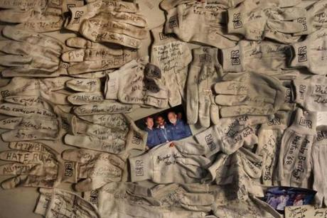 The store included a Wall of Gloves, which marked the white painter's gloves that Rodgers used to wear running on chilly days.