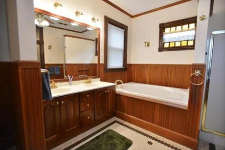 The full bath has a whirlpool tub and a separate shower. Listing broker Gregory Lovell of Tierney Realty Group in Hyde Park is holding an open house Sunday from 1 to 3 p.m.