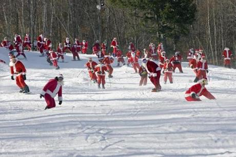 More than 250 skiers and riders donned Santa suits last year for Sunday River's Santa Sunday. (Sunday River Resort)