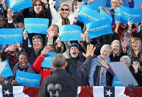 President Obama waved to supporters seated behind the podium as he arrived at a campaign rally  in downtown Concord, N.H.