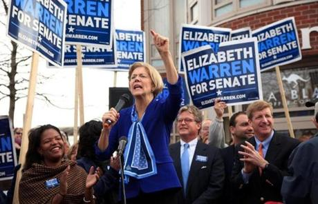 Elizabeth Warren addressed a crowd in Dorchester on Monday.
