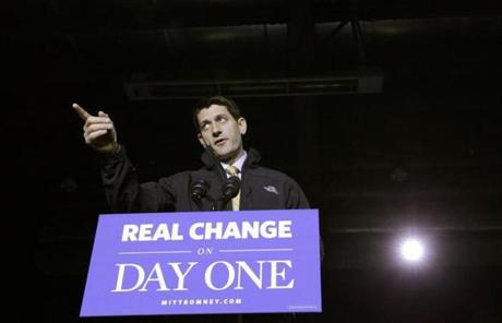 Paul Ryan appeared at a campaign event in Reno, Nev., on Monday.