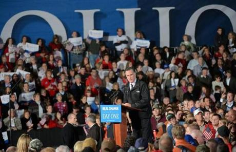 Mitt Romney appeared in Columbus, Ohio, Monday evening.