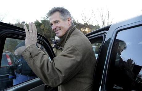 SLIDER U.S. Sen. Scott Brown, R-Mass., gets into his truck after voting in Wrentham, Mass., on Election Day, Tuesday, Nov. 6, 2012. Brown is facing Democratic candidate Elizabeth Warren for the U.S. Senate. (AP Photo/Gretchen Ertl)