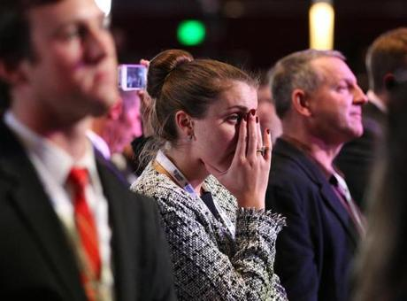 Mitt Romney supporters watching election results at the Boston Convention and Exhibiton Center reacted as President Obama was declared the winner.