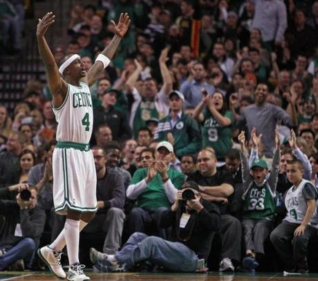 Jason Terry revved up the crowd after Boston Celtics teammate Chris Wilcox (not pictured) hit a shot and was fouled in the fourth quarter against the Washington Wizards at the TD Garden.
