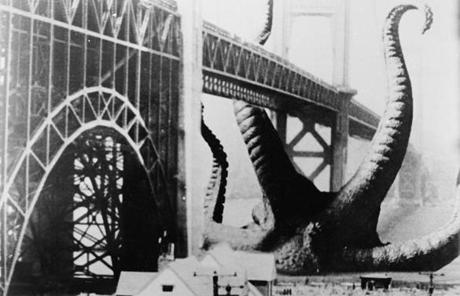 "Before destroying the Golden Gate Bridge in ""It Came From Beneath the Sea,"" the giant octopus in the film would have suffered debilitating blood pressure problems."