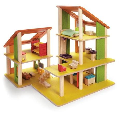 "PlanToys ""Chalet Dollhouse With Furniture,"" $250 at Magic Beans, 312 Harvard Street, 617-264-2326, mbeans.com"