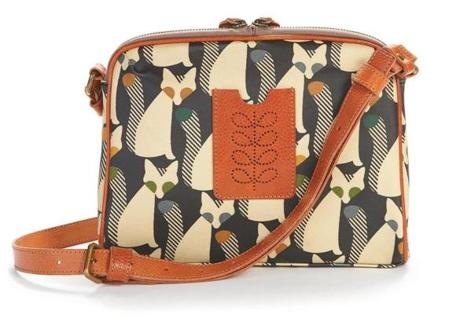 "Orla Kiely ""Cute as a Fox"" print ""Iris"" bag, $222 at Mint Julep, 1302 Beacon Street, 617-232-3600, shopmintjulep.com"