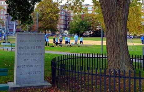 A marker on Cambridge Common showed where George Washington assumed command of American troops.
