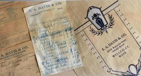 Receipts date back to the early 1900s at E.A. Davis store in Wellesley.