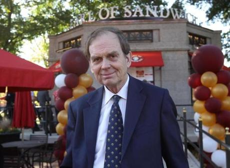 """I'm so delighted to be in Boston for the very first time,"" said John Montagu, the 11th Earl of Sandwich and part owner of the Earl of Sandwich fast-food chain."