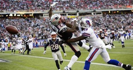 Kyle Arrington broke up a pass intended for Bills receiver Stevie Johnson in the fourth quarter.
