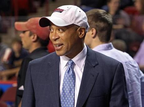 11/13/12 Amherst, MA: UMASS hosted Harvard University in a 10 AM college basketball game at the Mullins Center on the UMASS campus. Massachusetts governor Deval Patrick was seen in the stands. section:sports topic: Harvard-UMass (Jim Davis/Globe Staff)