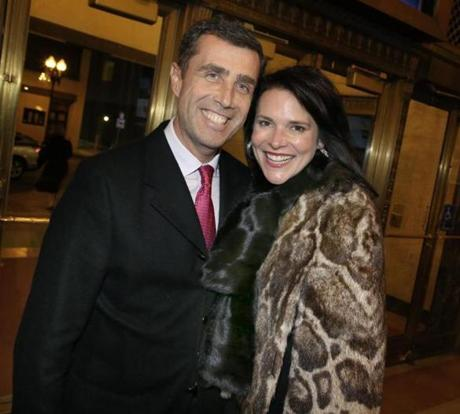 11-14-2012 Boston, Mass. Hundreds of guests attended a party to celebrate 25 yrs.for Citi Performing Art Center Gala President Joe Spaulding. L. to R. are T. K. Ankiner and his wife Lianne oof Boston. Globe photo by Bill Brett