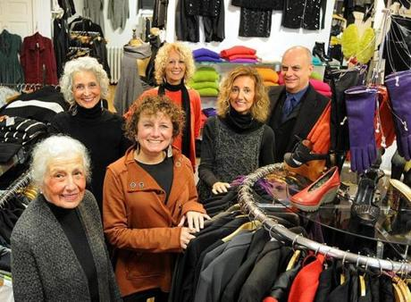 At Pilgrim's Progress, an upscale men and women's clothing store, the Brigida family has been in charge for 35 years. From left: Laura Brigida, Joyce Whiting, Renee Ferazzi, Marie Whiting, Jayne Siever and Peter Brigida.